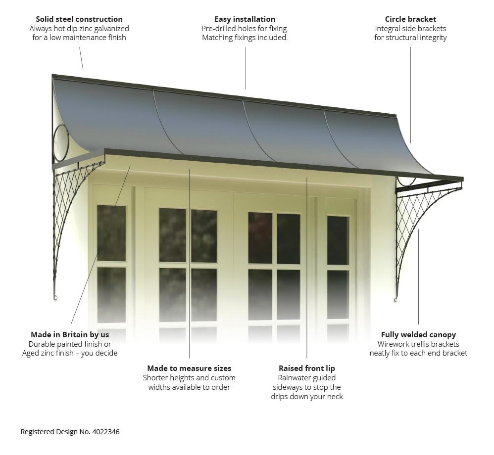 Features u0026 Benefits  sc 1 st  Garden Requisites & Door Canopies With Brackets - 8u0027 Canopy
