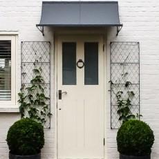 Door-canopy-metal-trellis-planters