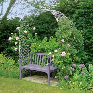 Metal Rose Arch and Bench