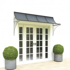 Wide door canopy with metal brackets