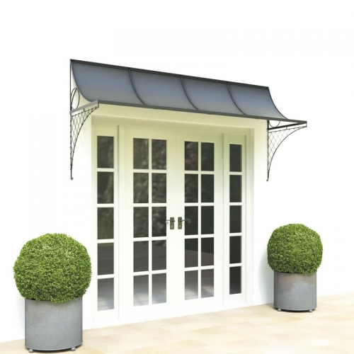 Wide door canopy with metal brackets