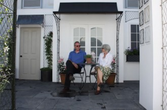 Double porch in black at rhs chelsea flower show