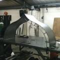 Steel roof of victorian porch in workshop
